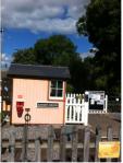 Old fashioned railway crossing