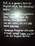 blackboard in Cakes and Ale cafe