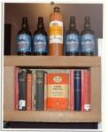 Shelf, books and bottles