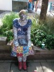 sculpture of mosaic lady
