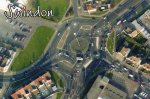 aerial view of contraflow traffic system in Swindon