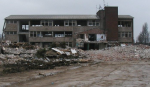 a building under demolition