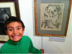 Boy stood by Lucien Freud painting