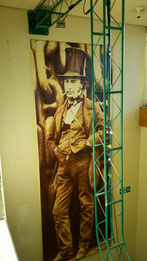 Brunel on one of the backstage stairwells