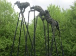 sculpture of large hounds